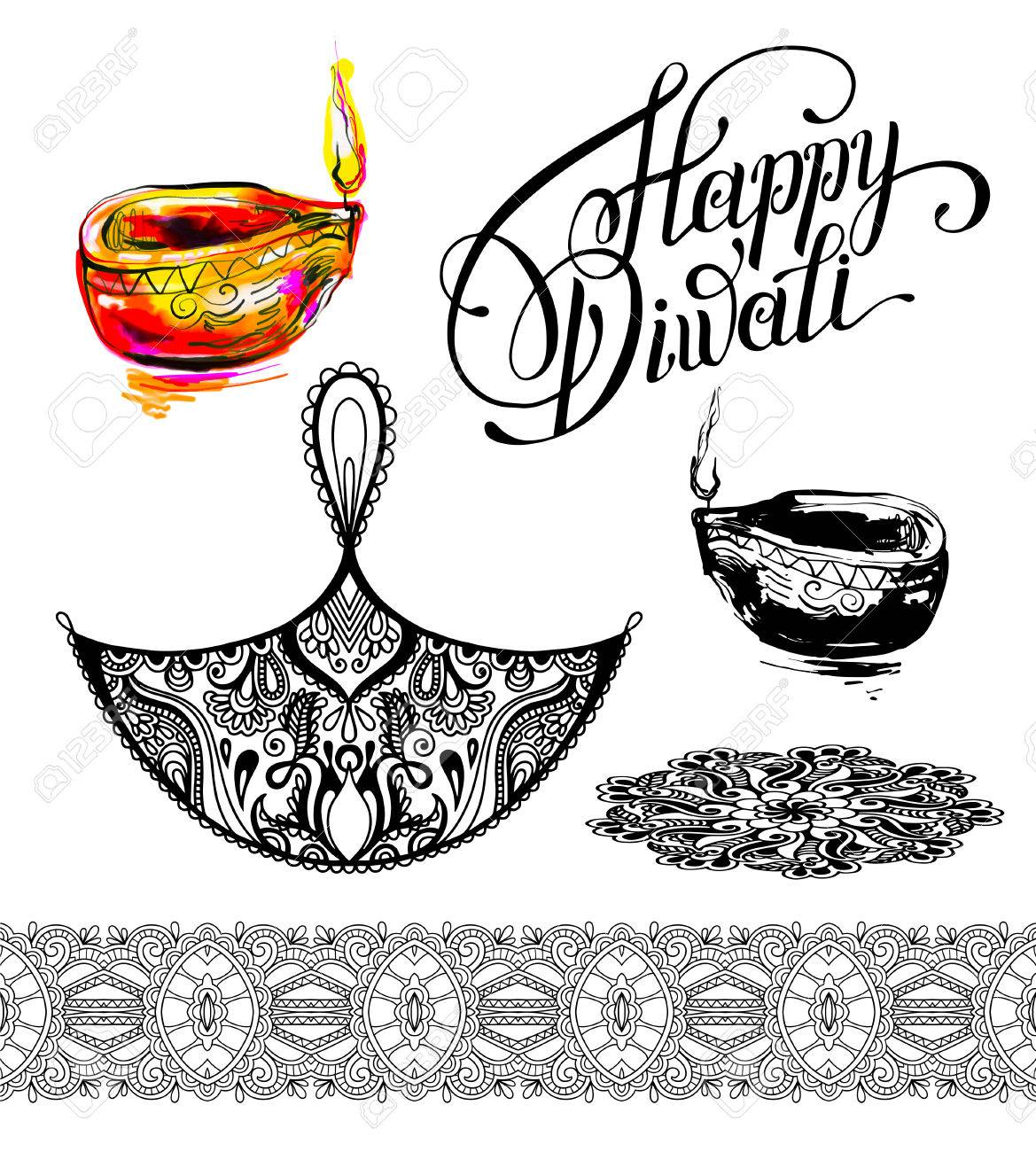 Set drawing design element for diwali celebration indian fire festival illustration stock vector