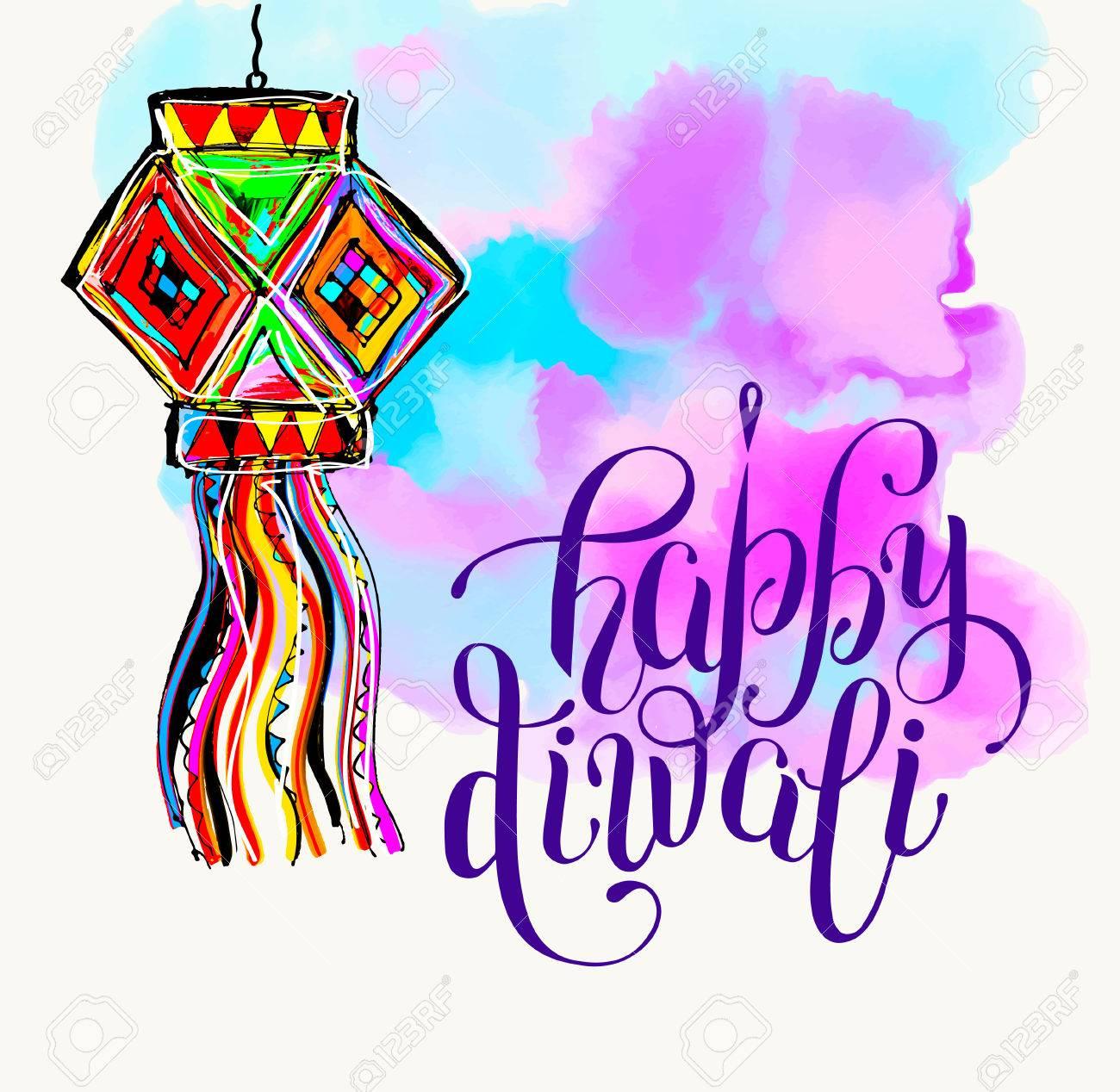 happy diwali watercolor greeting card to indian fire festival rh 123rf com