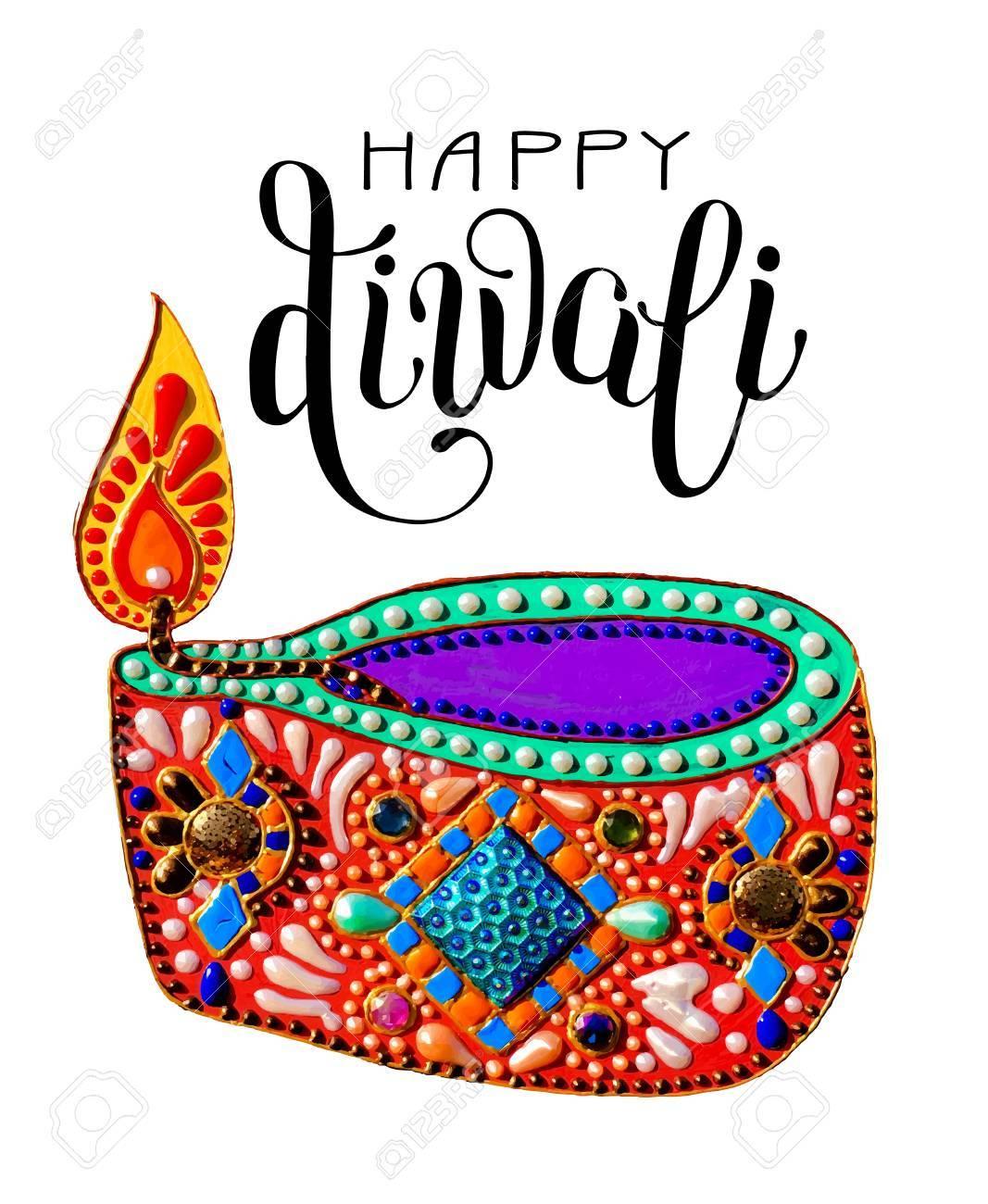 Original greeting card to deepavali festival with diya jewels original greeting card to deepavali festival with diya jewels painting and lettering inscription happy diwali m4hsunfo