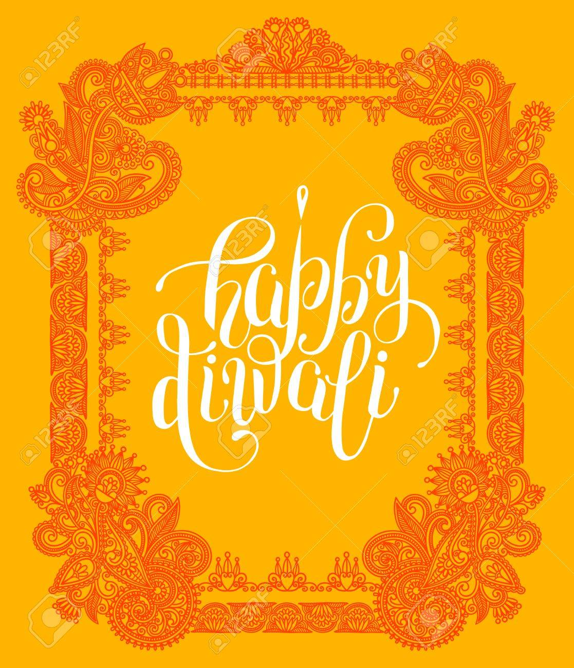 Happy diwali greeting card with paisley ornamental frame design happy diwali greeting card with paisley ornamental frame design and hand written inscription to indian light m4hsunfo