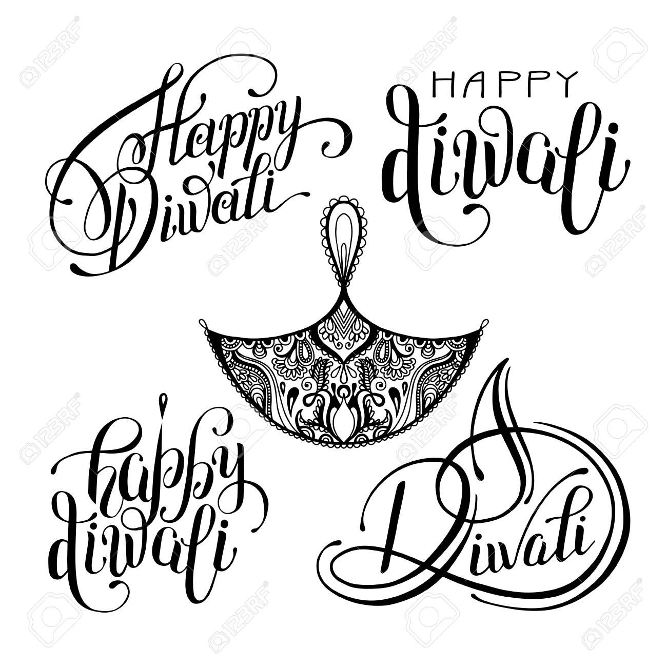 Drawing Pic For Diwali Black And White
