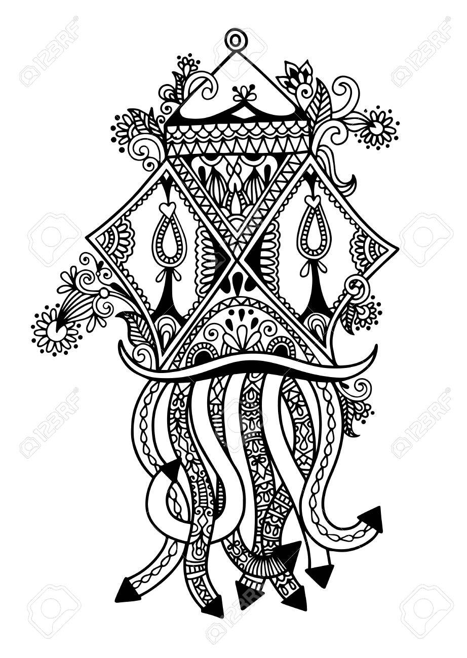 Black And White Sketch Drawing Of Ornamental Traditional Hanging ... for Deepavali Lamp Black And White  45hul