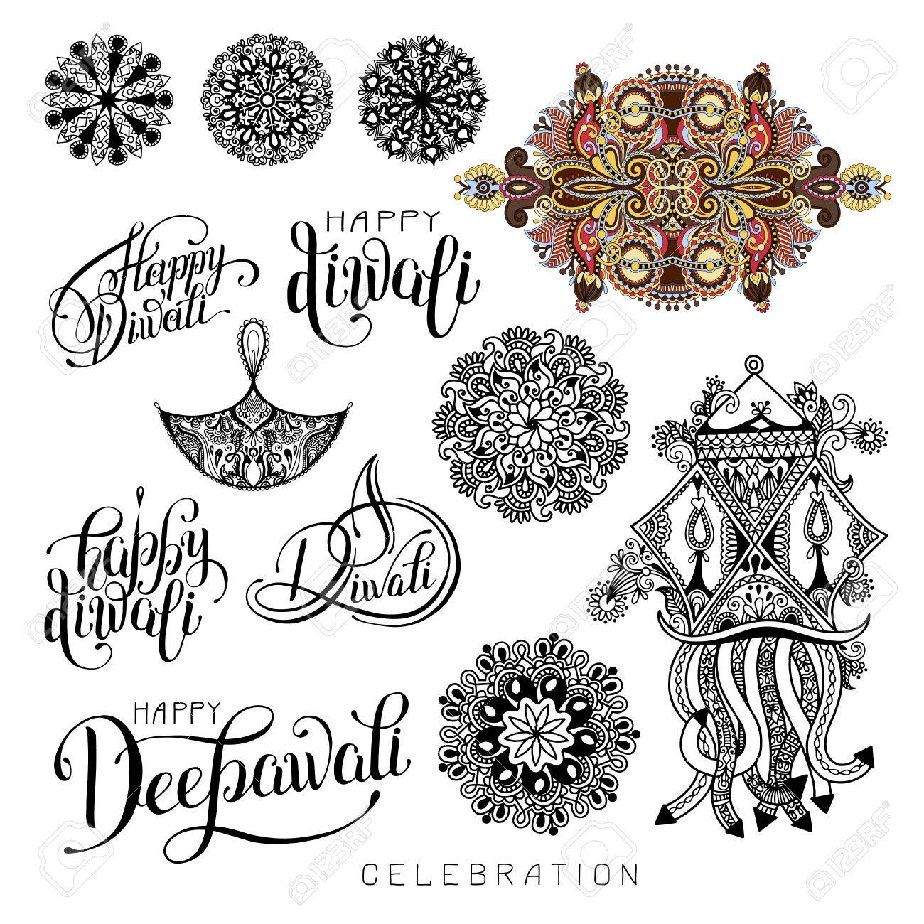 Set Of Black And White Hand Drawing Design Element Lettering ... for Diwali Festival Black And White Images  269ane