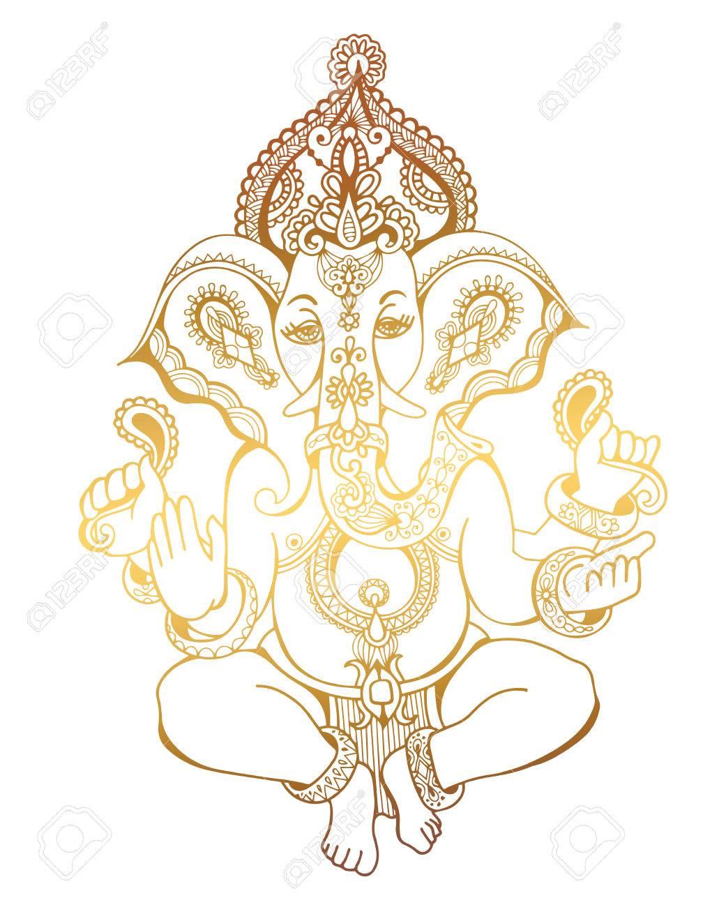 Croquis Tatouage hindu seigneur ganesha or orné dessin croquis, tatouage, yoga