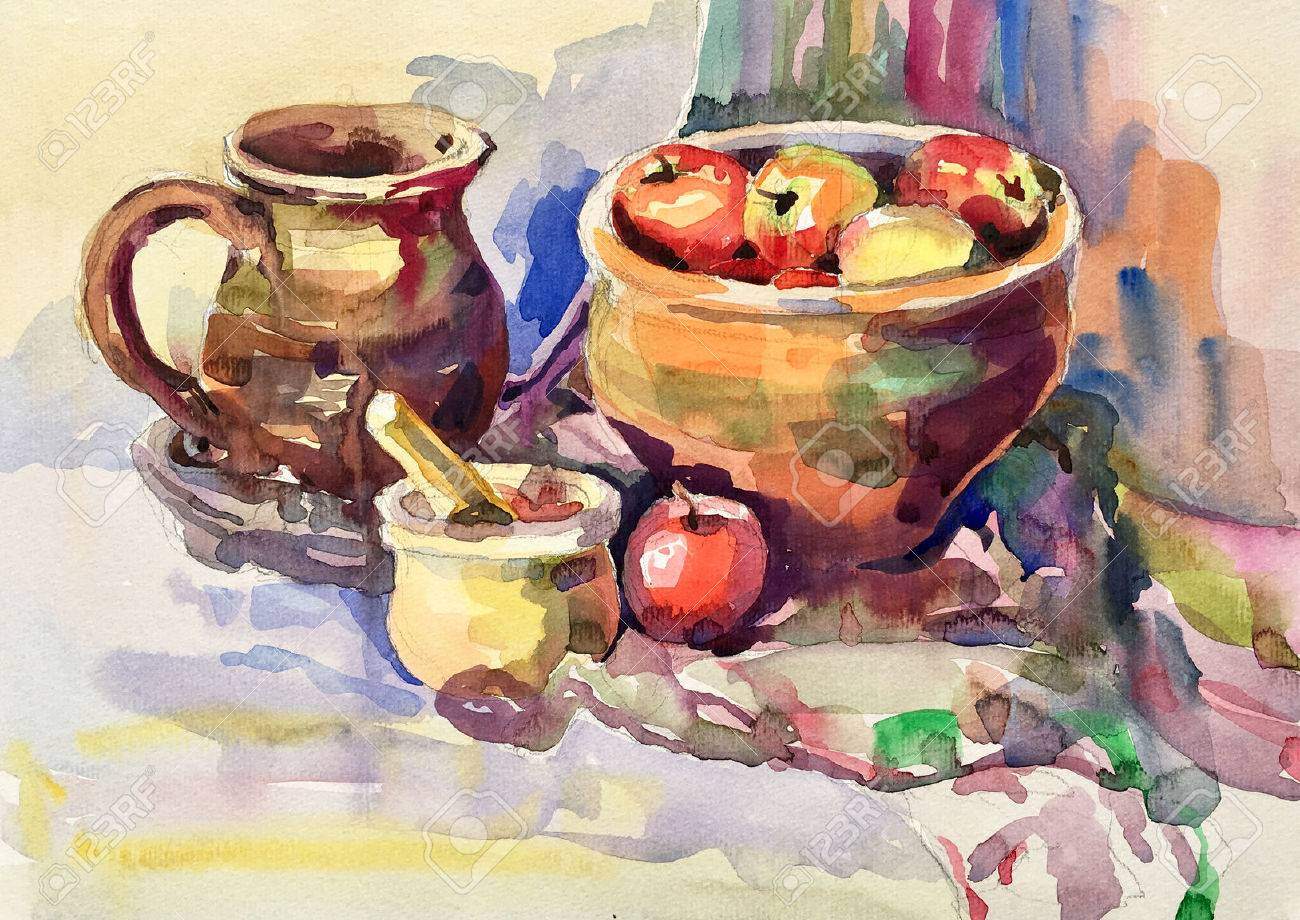 watercolor painting of still life with vintage tableware, apples, jug, mill and bowl, aquarelle sketch illustration - 64469733