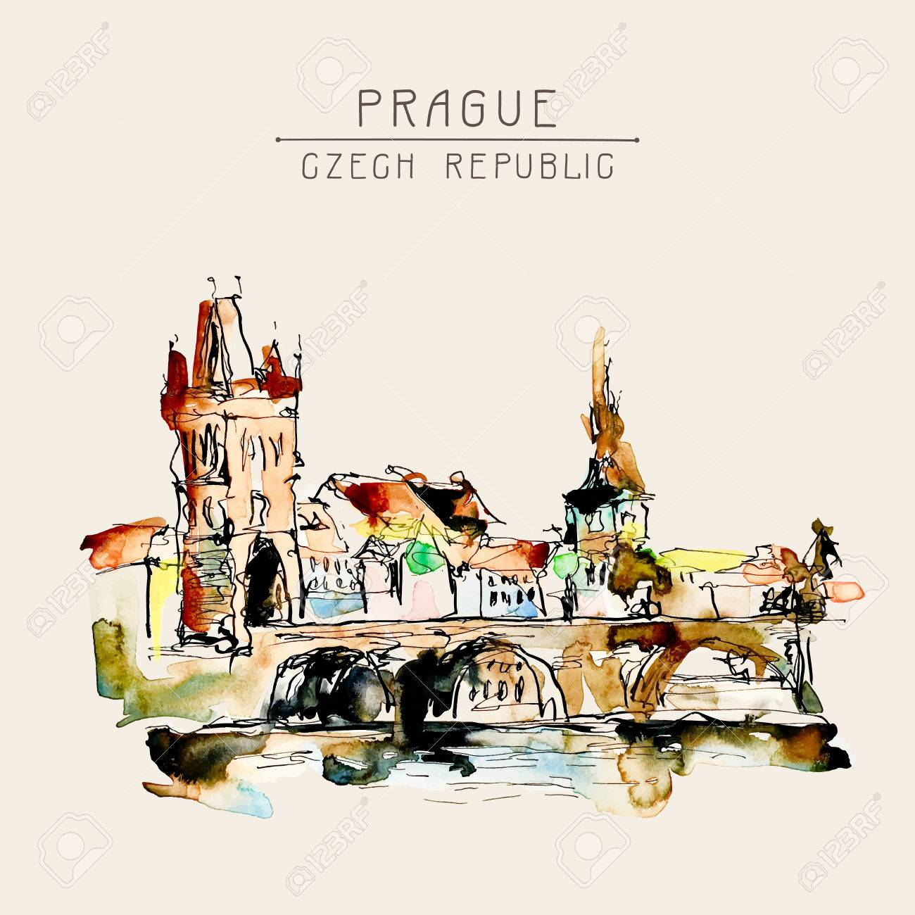 Vector watercolor freehand sketch drawing of prague czech republic top landscape to travel book or poster aquarelle painting vector illustration