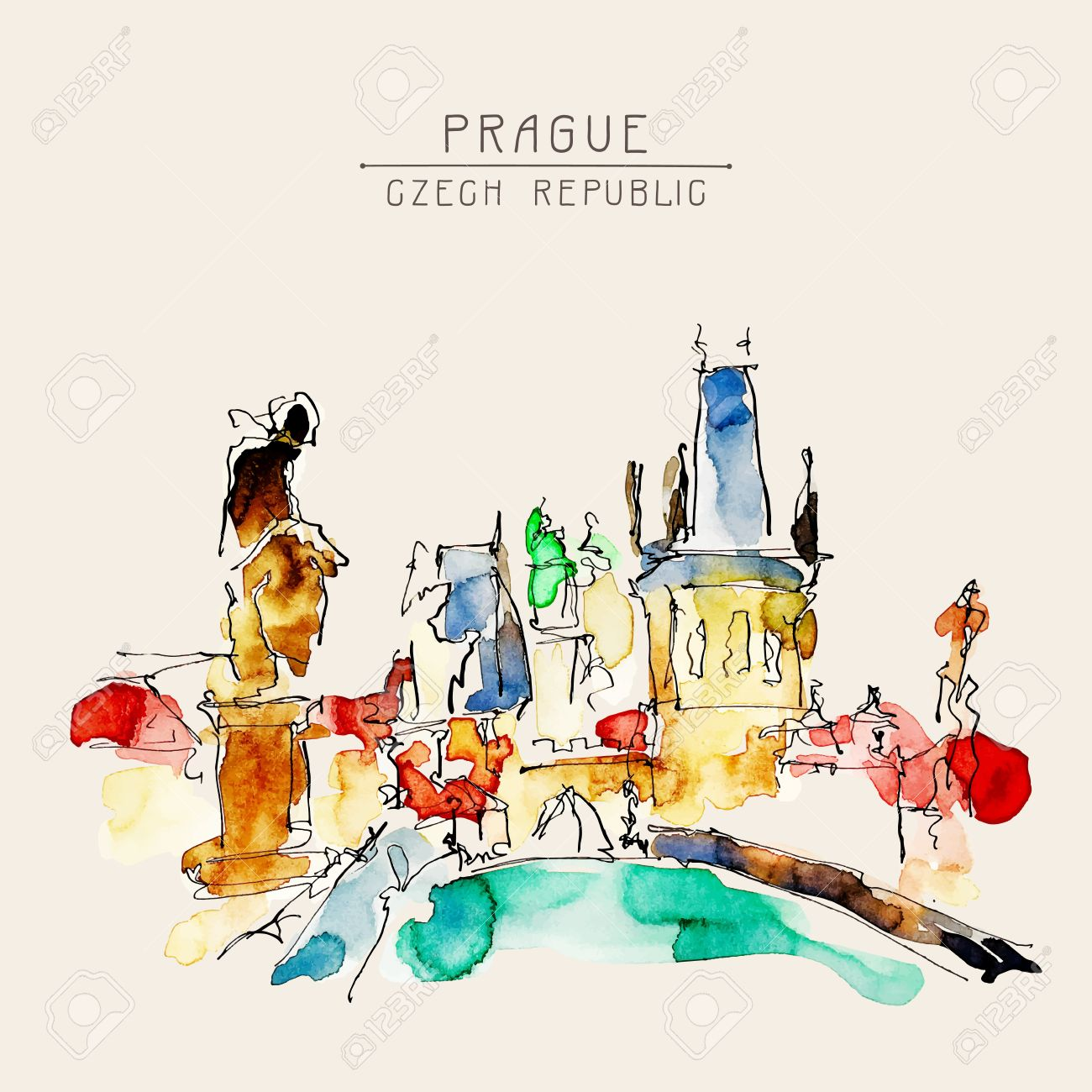 Watercolor Freehand Sketch Drawing Of Prague Czech Republic Top