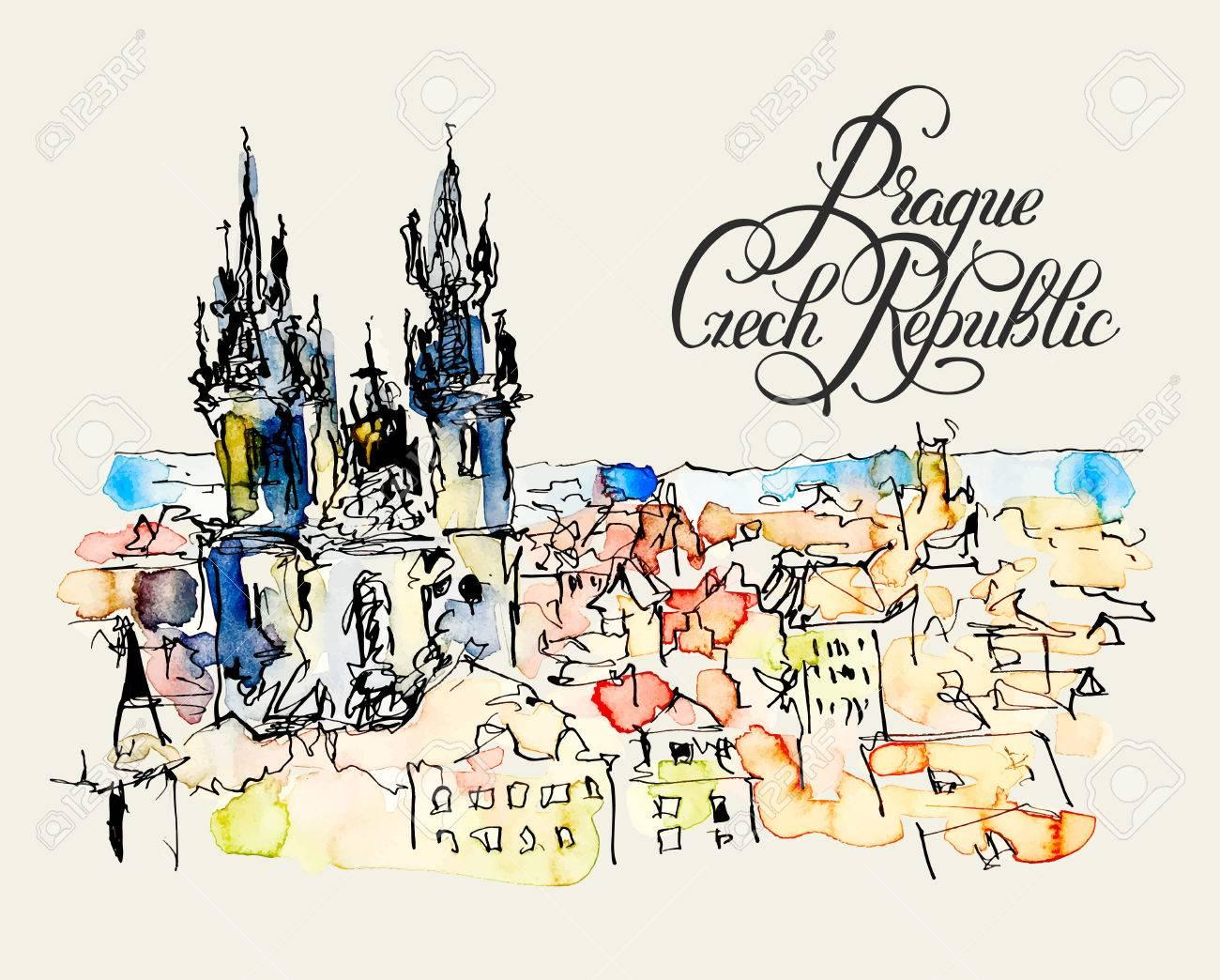Dessin Avec La Main aquarelle dessin à main levée croquis de prague république tchèque top  paysage avec la calligraphie lettrage de livre ou une affiche, peinture