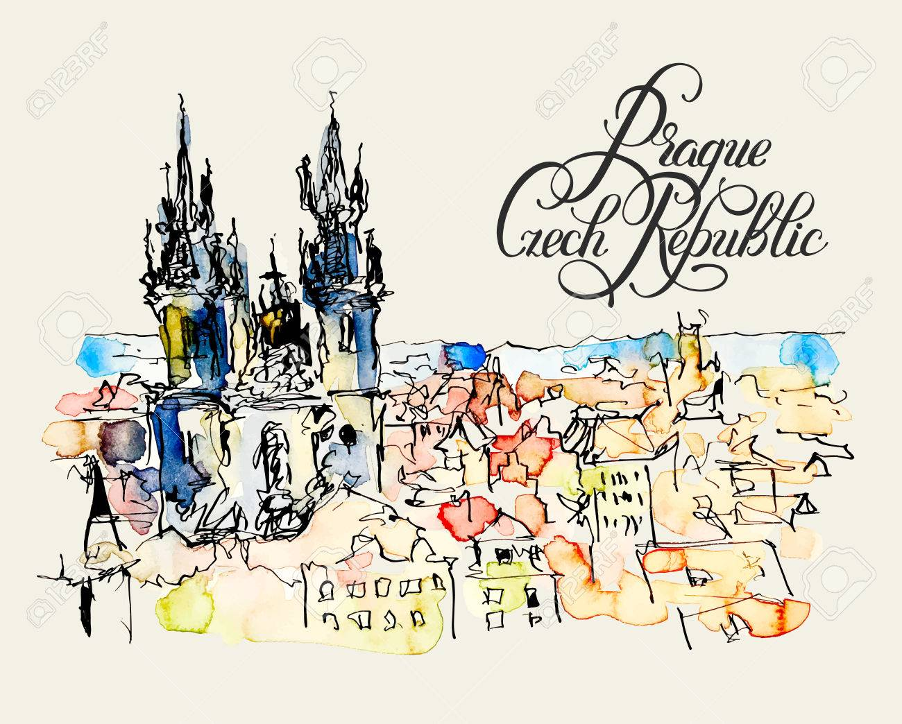 Vector watercolor freehand sketch drawing of prague czech republic top landscape with calligraphy lettering to travel book or poster aquarelle painting