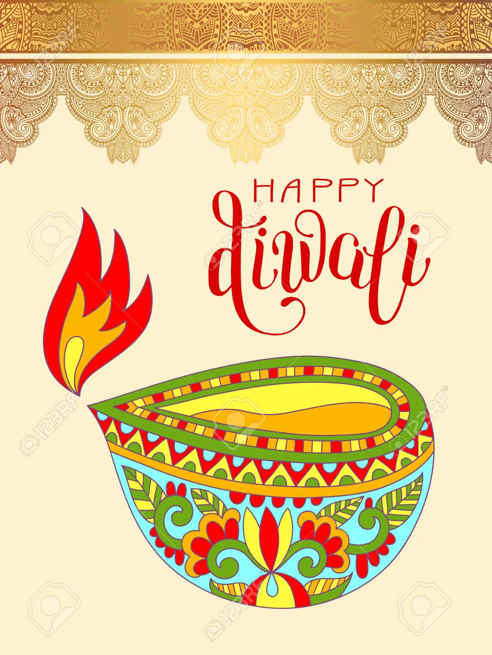 Happy Diwali Greeting Card With Hand Written Inscription To Indian