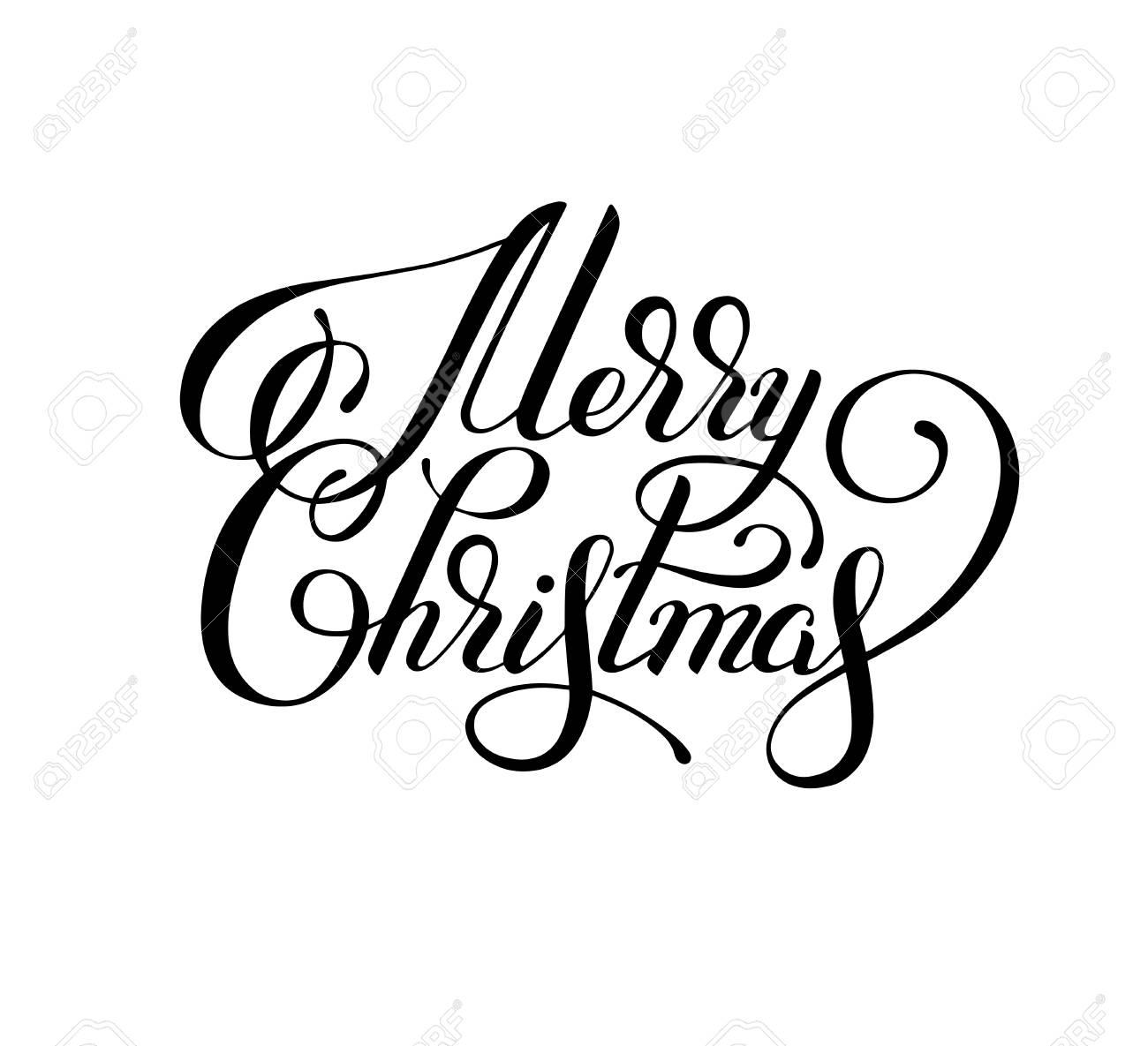 Inscription En Letrins à La Main En Noir Et Blanc Joyeux Noël Artistique Pour La Carte De Voeux Laffiche Limpression La Conception Web Et Autres