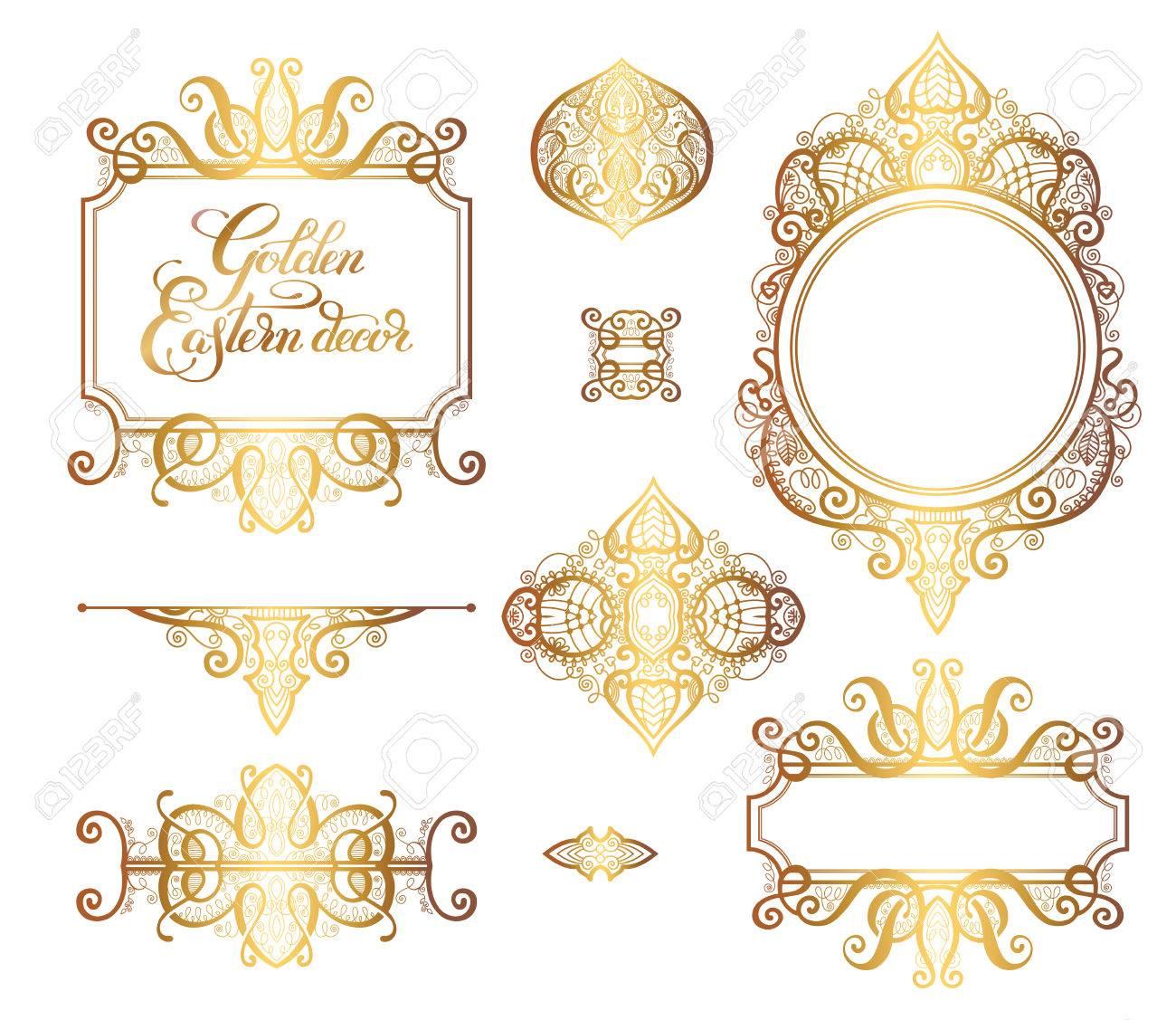 Floralen Goldenen östlichen Dekor Rahmen Elemente, Paisley Muster Für Hochzeit  Einladung, Geburtstag Grußkarte