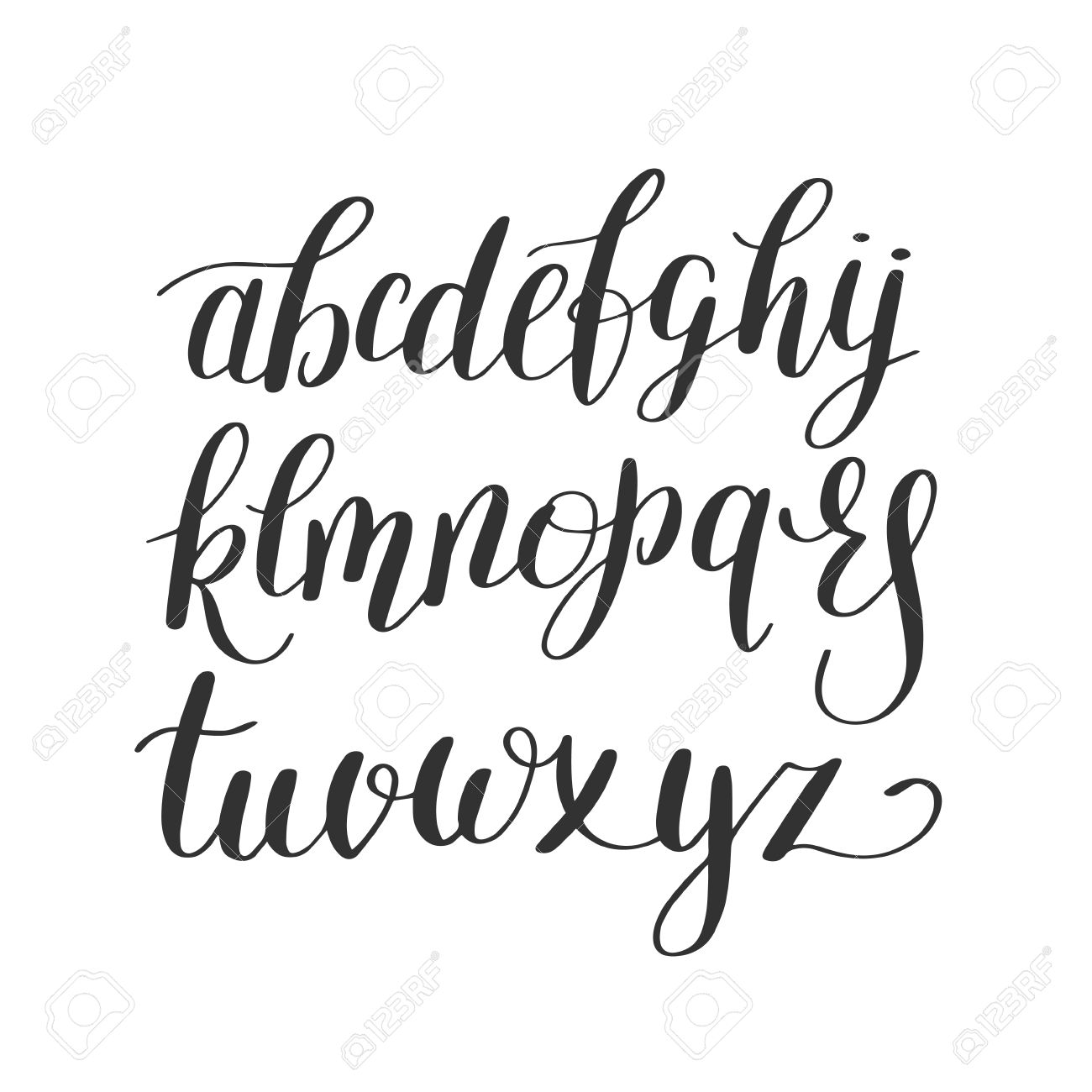 Black And White Hand Lettering Alphabet Design Handwritten Brush Script Modern Calligraphy Cursive Font Illustration