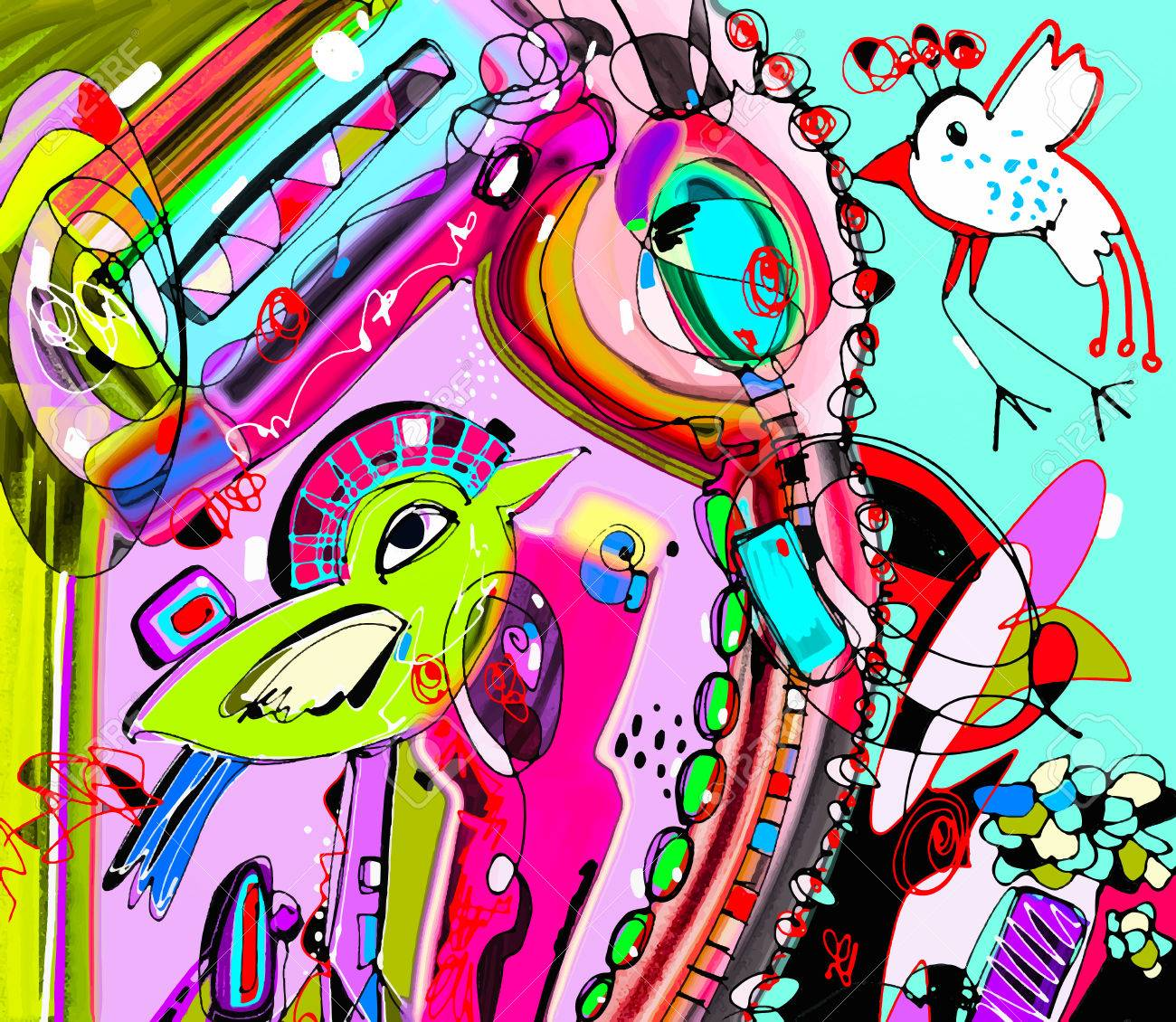Original Einzigartiges Abstraktes Digitales Zeitgenössische Kunst ...