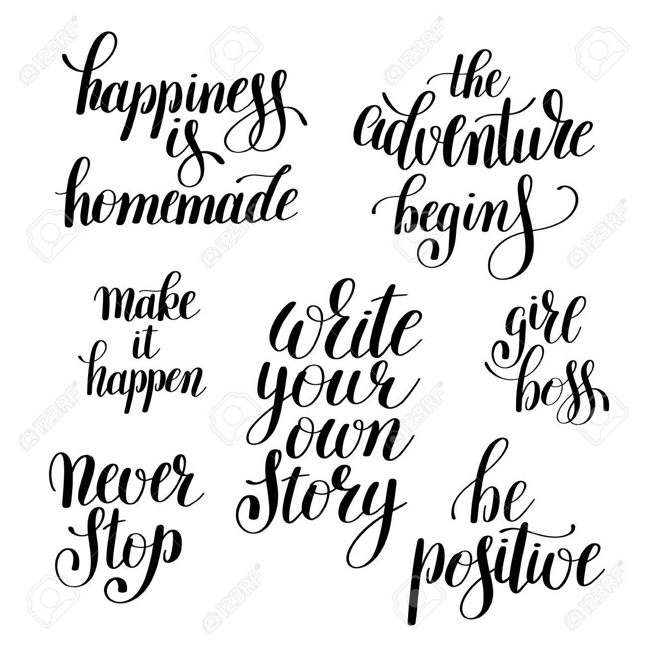 graphic about Printable Inspirational Quotes referred to as fastened of handwritten optimistic inspirational estimates brush typography..