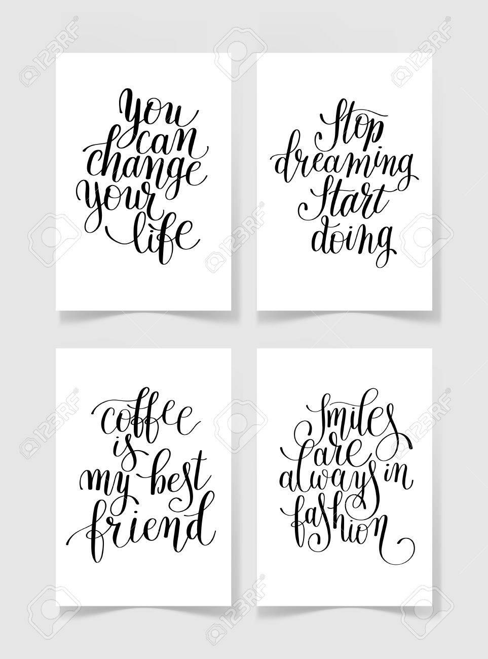 Conjunto De Cuatro En Blanco Y Negro Letras Escritas A Mano Colección De Frases Positivas Al Arte Imprimible Pared Diseño De Carteles Camiseta Y