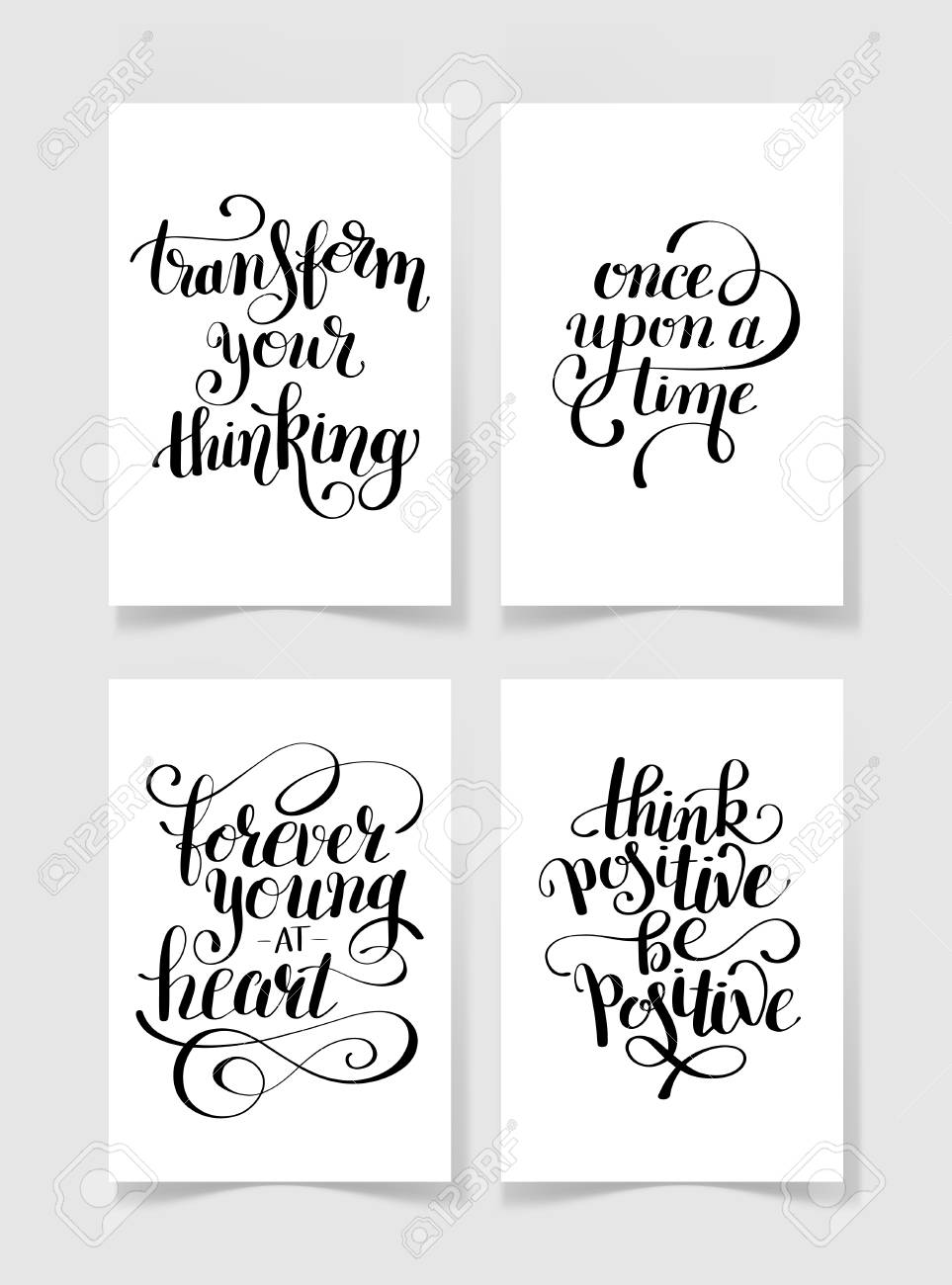 graphic regarding Free Printable Quotes Black and White identified as fastened of 4 black and white handwritten lettering optimistic estimates..