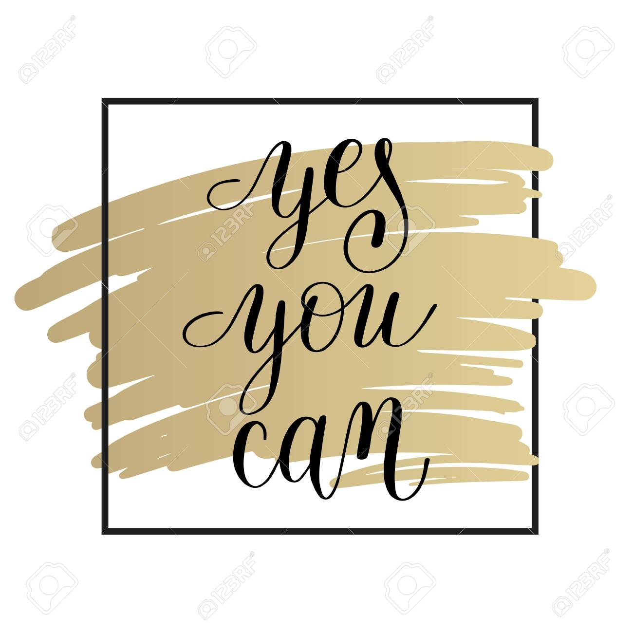 Yes You Can Handwritten Lettering Positive Motivational Quote ...