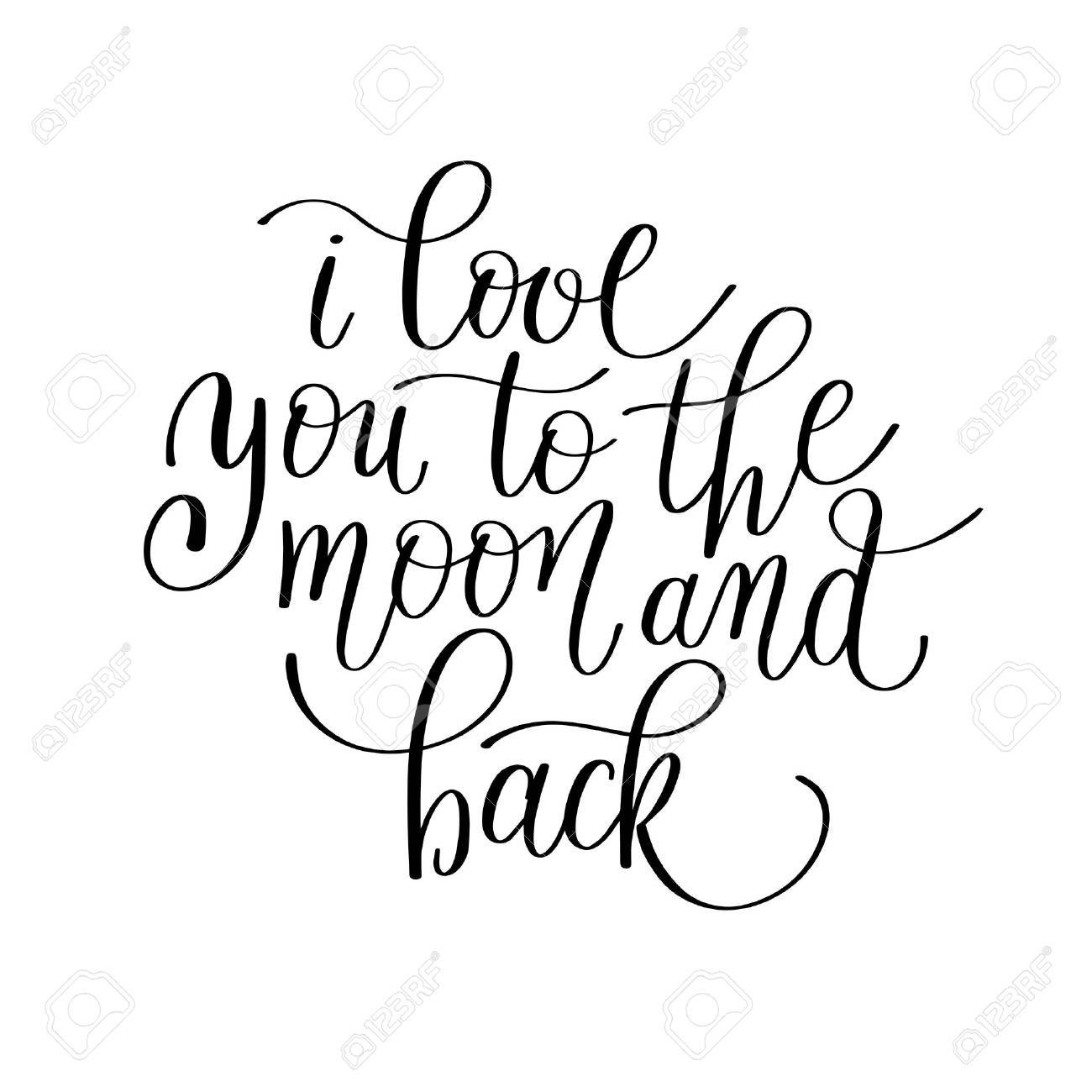 photo relating to Printable I Love You Cards referred to as i delight in by yourself in direction of the moon and back again handwritten calligraphy lettering..
