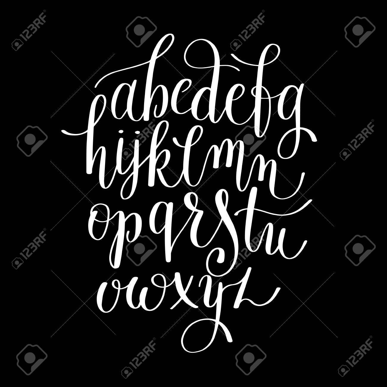 black and white hand lettering alphabet design, handwritten brush