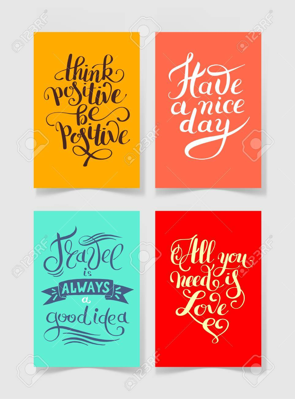 photograph about Printable Positive Quotes called mounted of 4 vibrant hues handwritten lettering good offers..