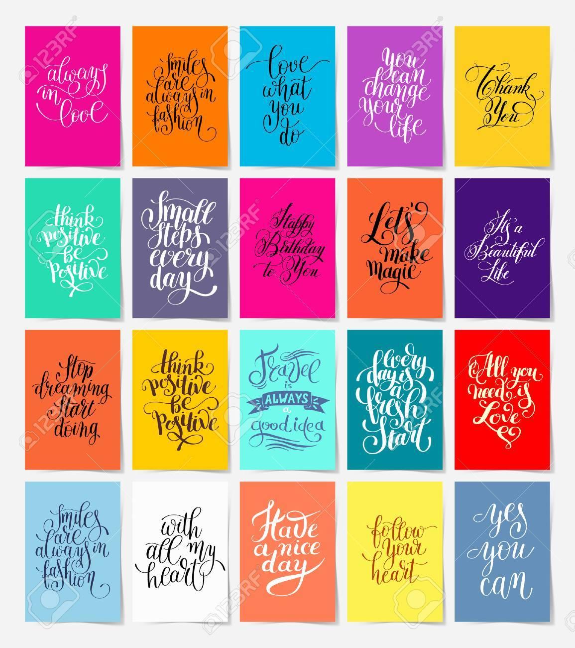 Conjunto De 20 Caligrafía Carteles Con Letras De La Mano Frase De Motivación Y Felicitación En Formato A4 Para Impresión O Web Tipografía Colección
