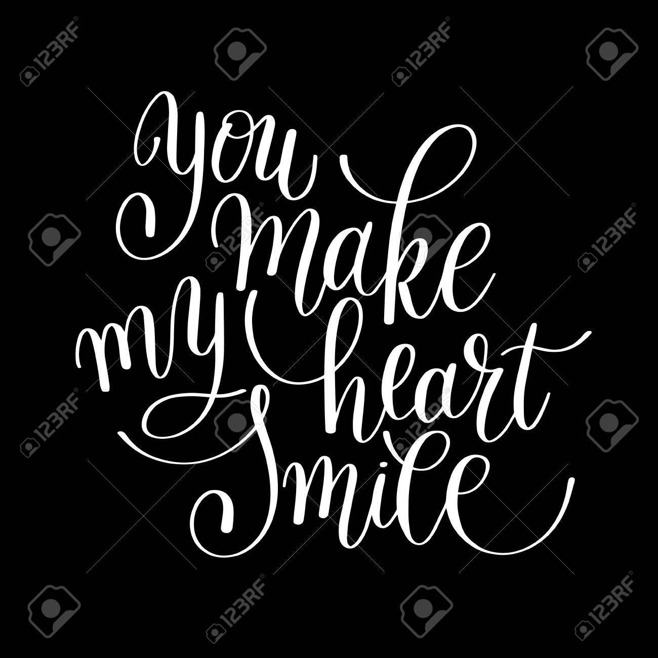 Sie Machen Mein Herz Lächeln Handgeschriebene Kalligraphie ...