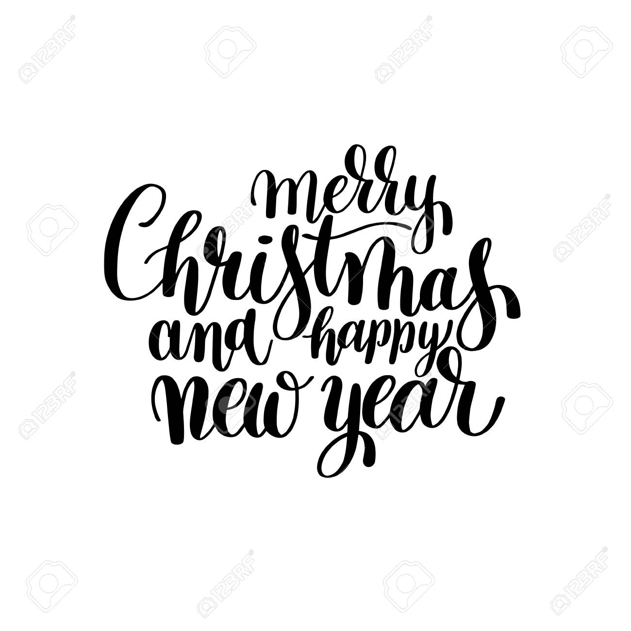 black and white merry christmas and happy new year calligraphic royalty free cliparts vectors and stock illustration image 67330225 123rf com