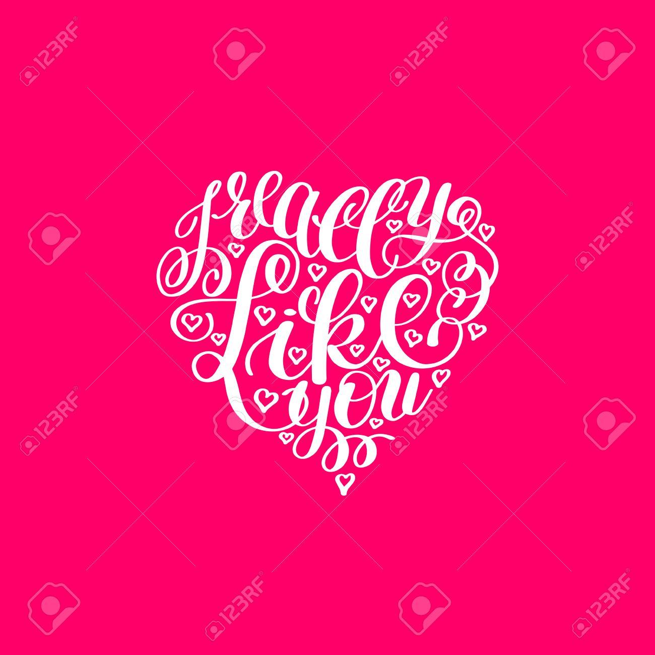 Realmente Me Gustas Carta De Amor En Forma De Corazón Texto Inglés