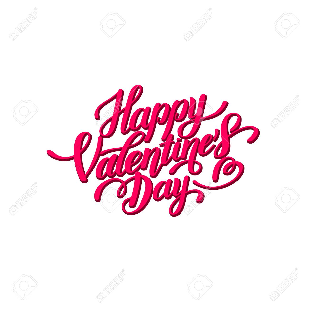 Happy Valentines Day Handwritten Lettering Holiday Design Royalty