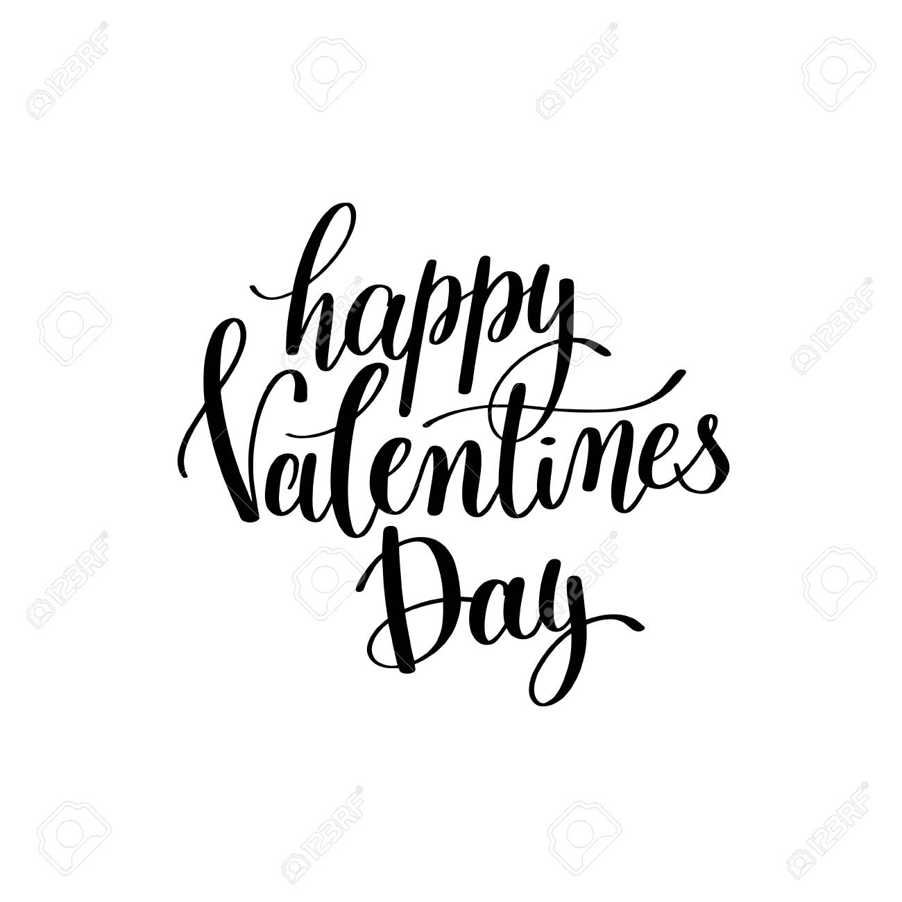 Happy Valentines Day Black And White Hand Written Lettering Abou