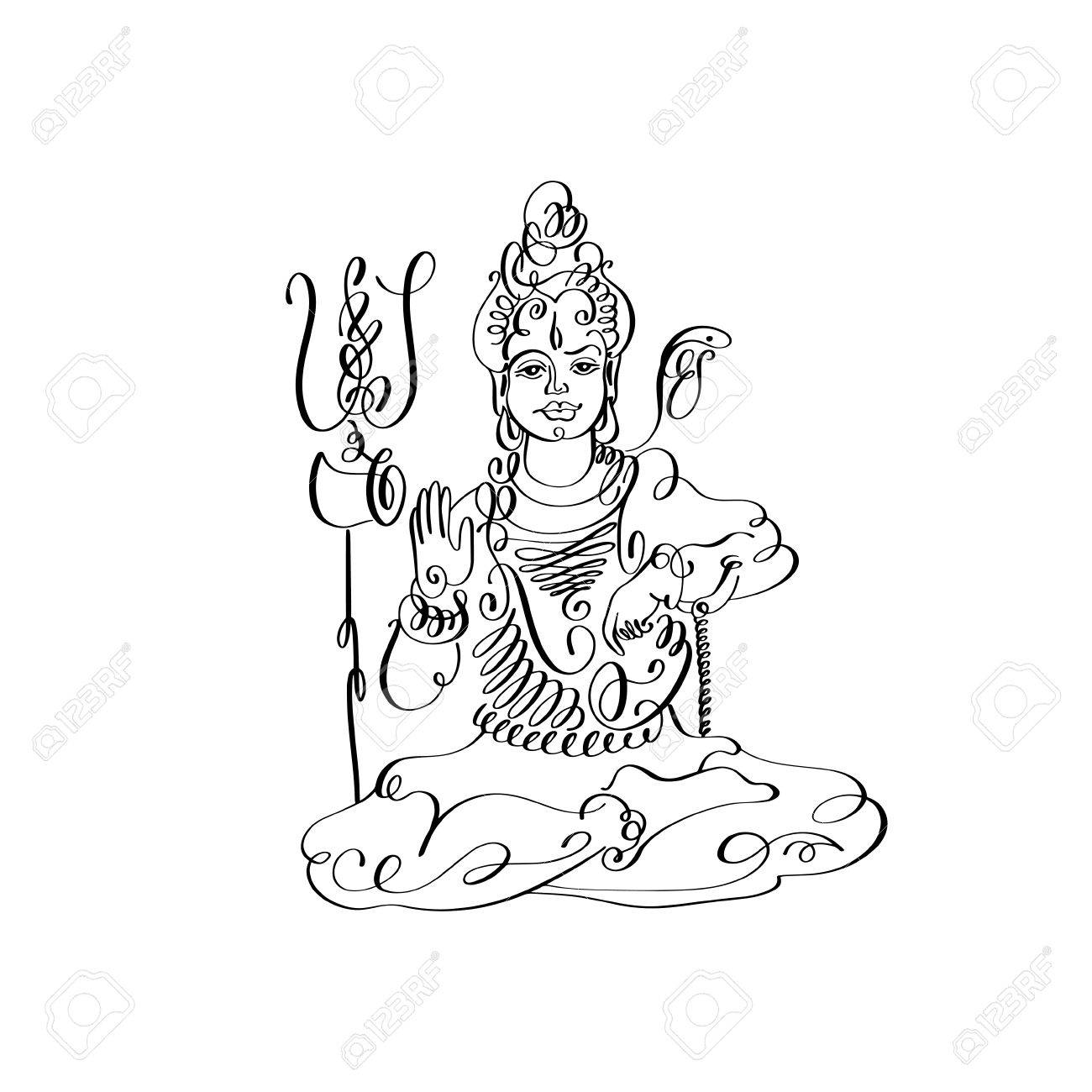 Line art lord shiva black and white calligraphic drawing stock photo 70447054