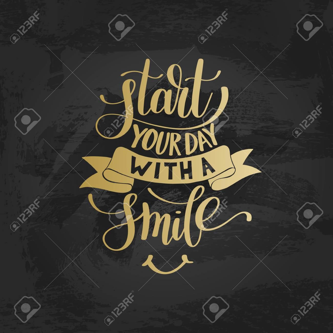 Comienza Tu Día Con Una Sonrisa Vector Oro Frase De Texto