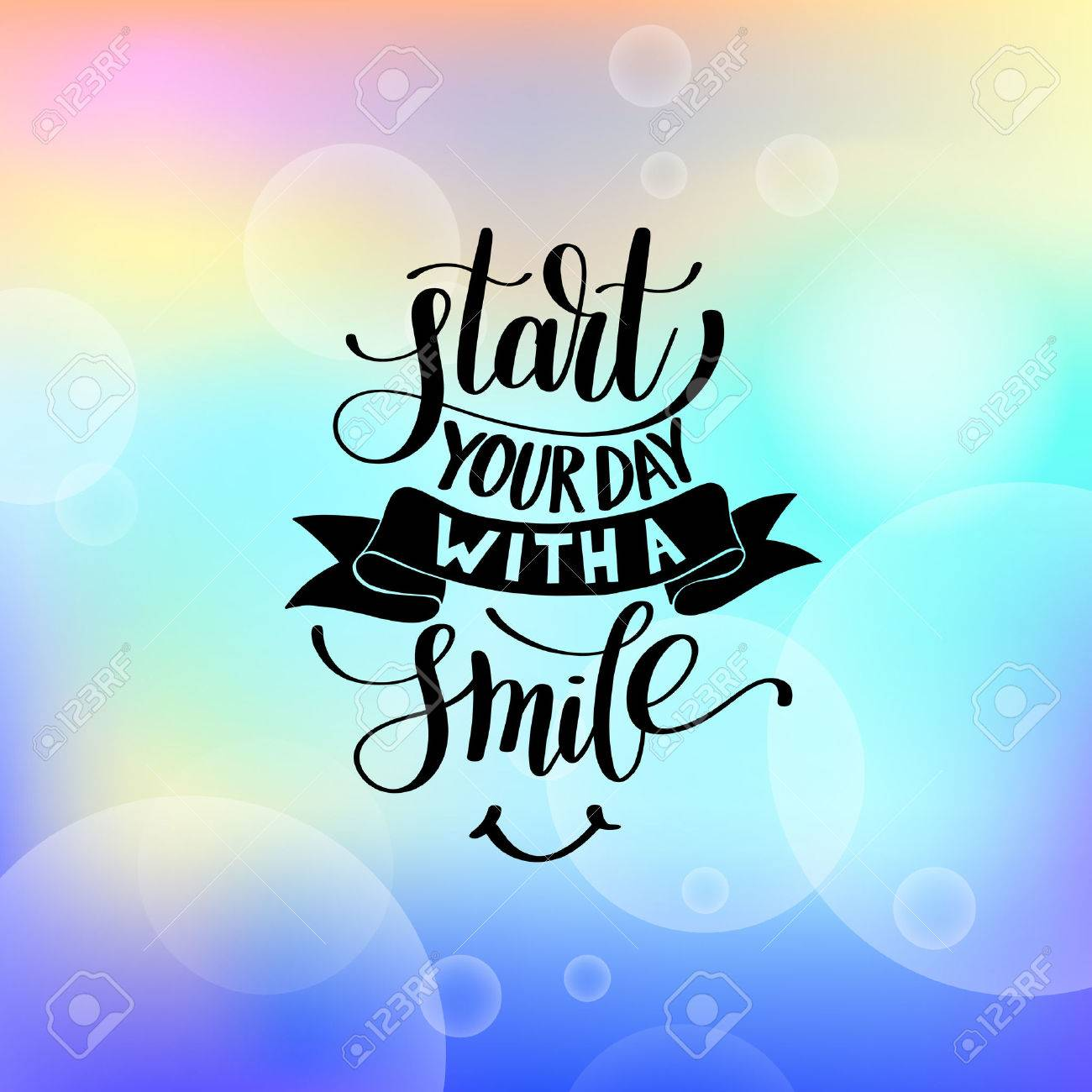 Start Your Day With A Smile Vector Text Phrase Illustration On