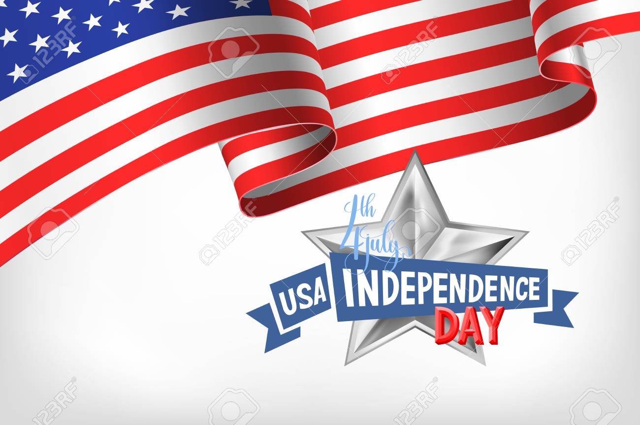 4th July Usa Independence Day Banner With American Flag And Hand
