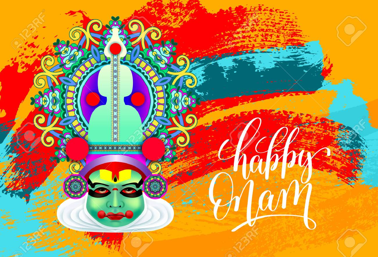 Happy Onam Greeting Card With Indian Kathakali Dancer Face Royalty