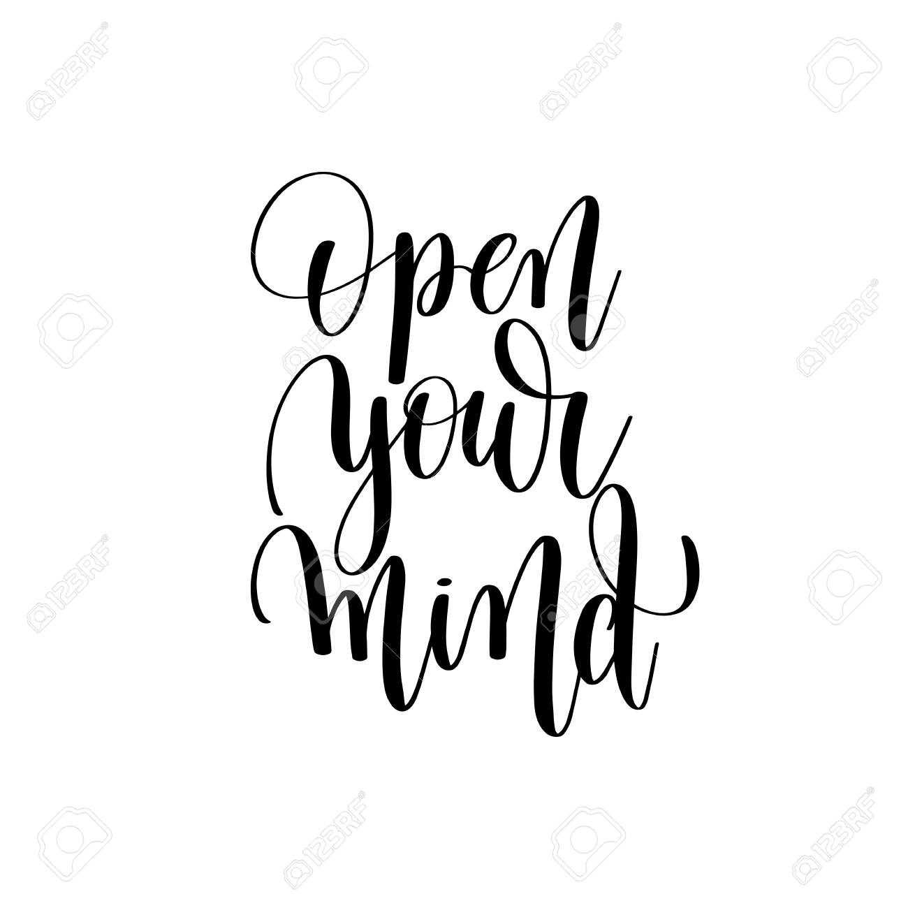 Open Your Mind Black And White Positive Quote Royalty Free Cliparts