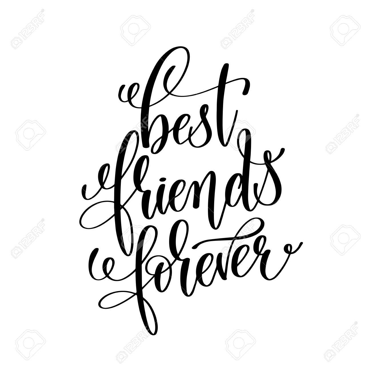 Best friends forever black and white handwritten lettering stock vector 82407421