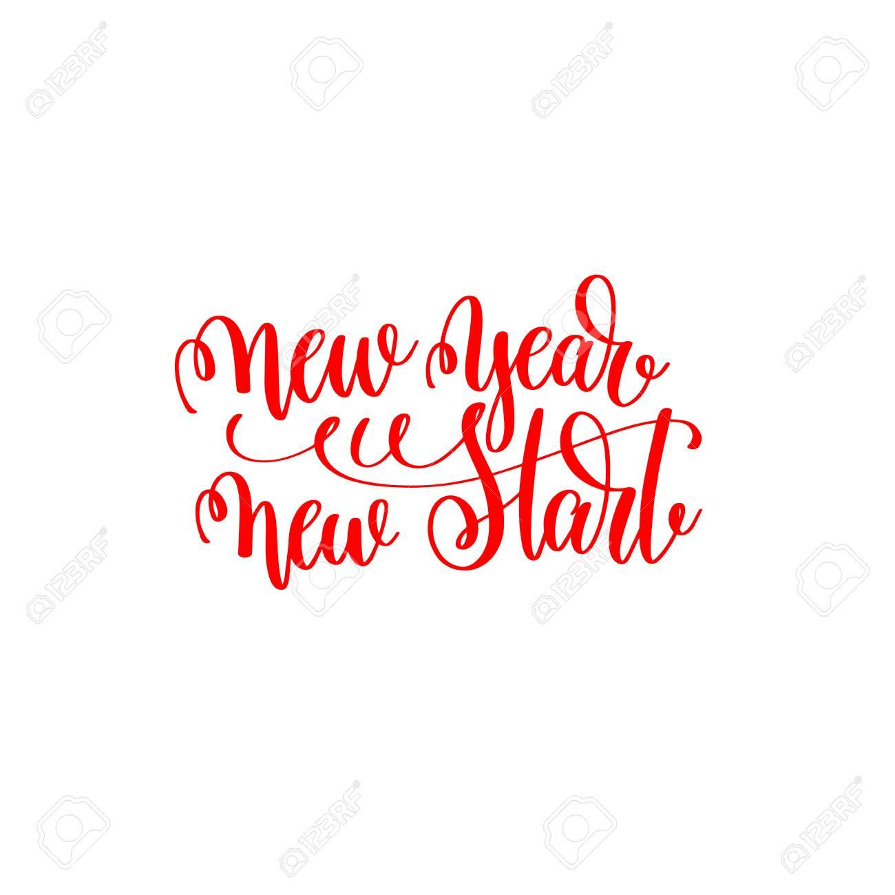 New Year New Start - Red Hand Lettering Motivation Inscription ...