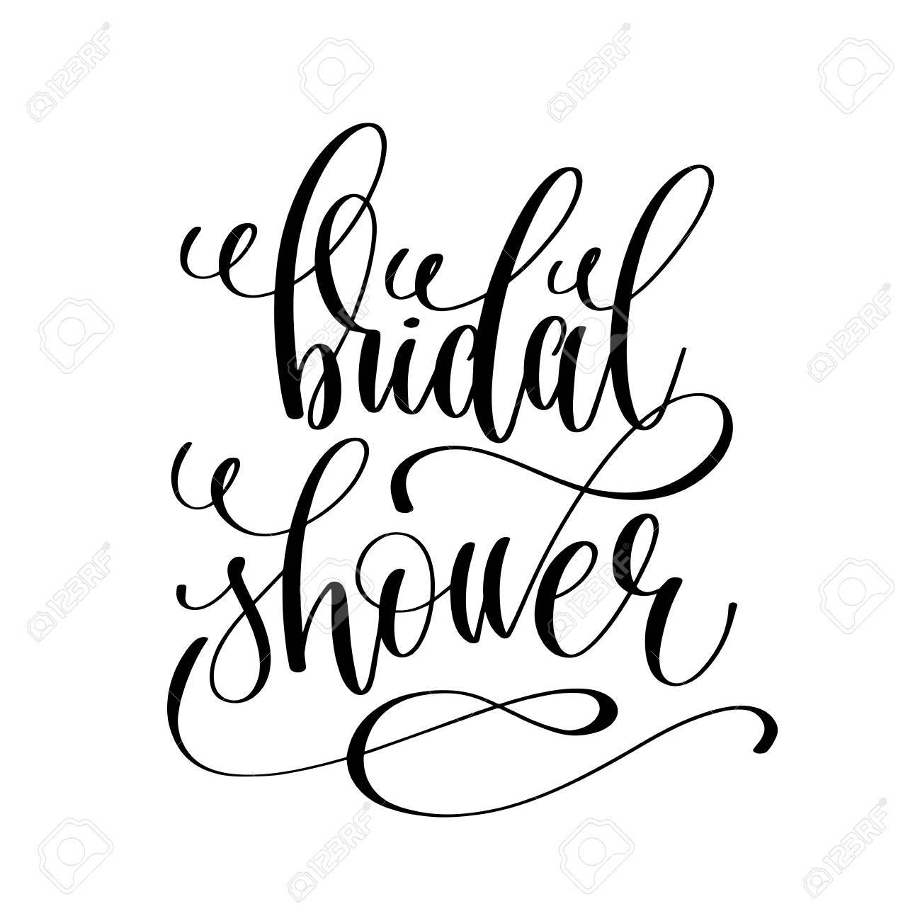 bridal shower black and white hand lettering script royalty free rh 123rf com free clipart images for bridal shower