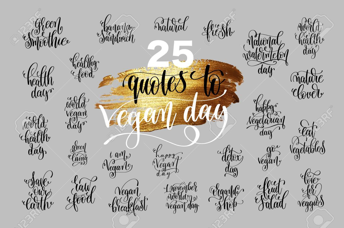 set of hand lettering quotes to world vegan day