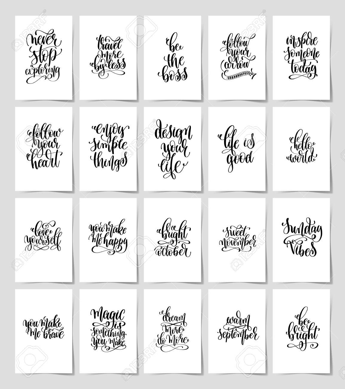 Illustration set of 20 black and white hand lettering magic quotes posters inspirational positive phrase calligraphy vector illustration collection