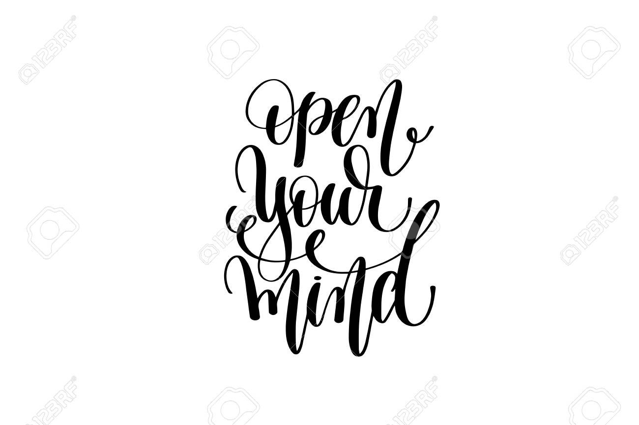 Open Your Mind Hand Lettering Positive Quote Royalty Free Cliparts