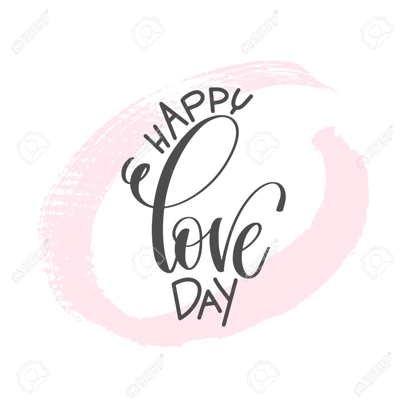 Happy Love Day Hand Lettering Inscription Text To Valentines