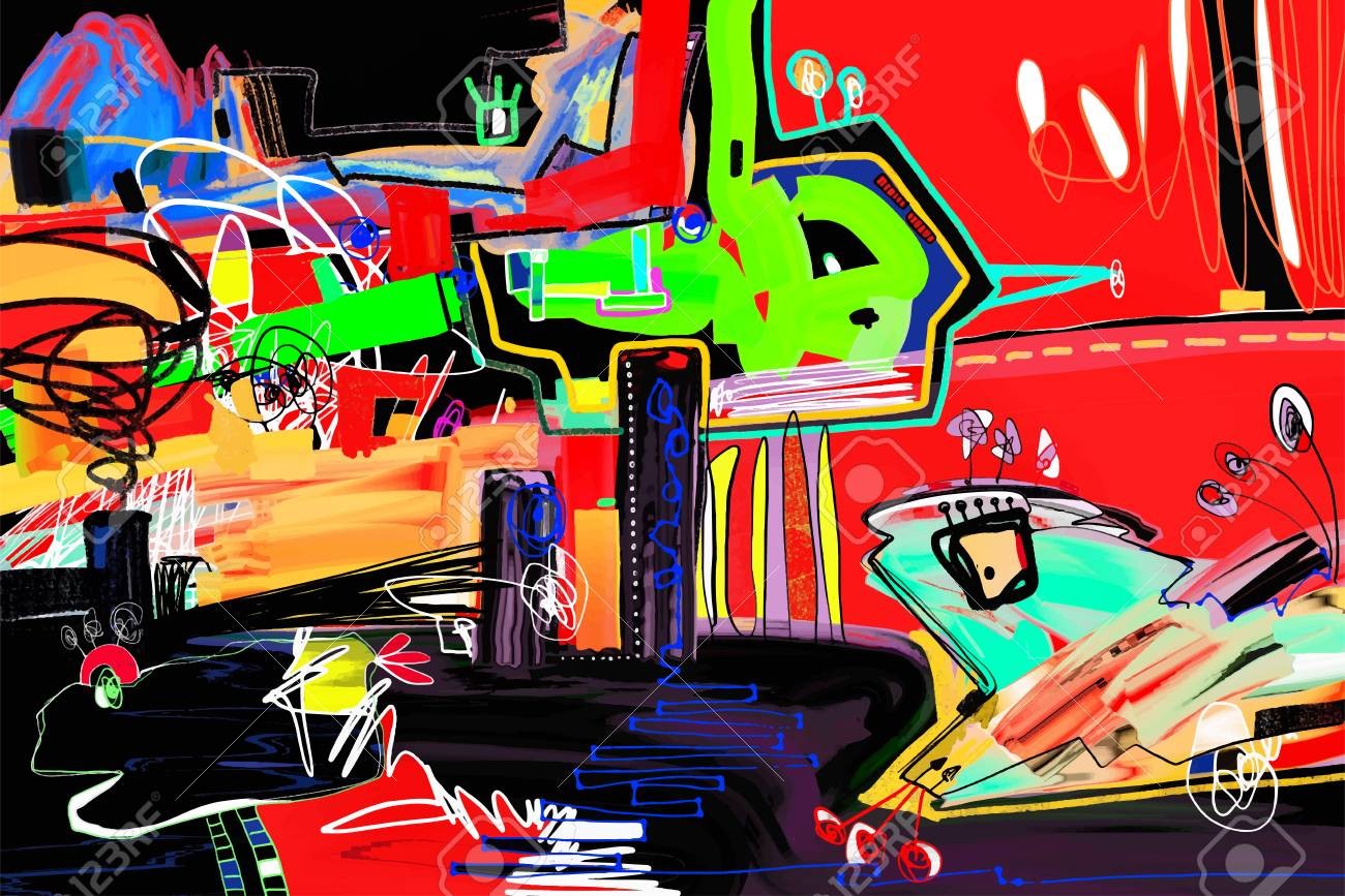 Magazine Art Et Décoration digital painting perfect to interior design or magazine page..