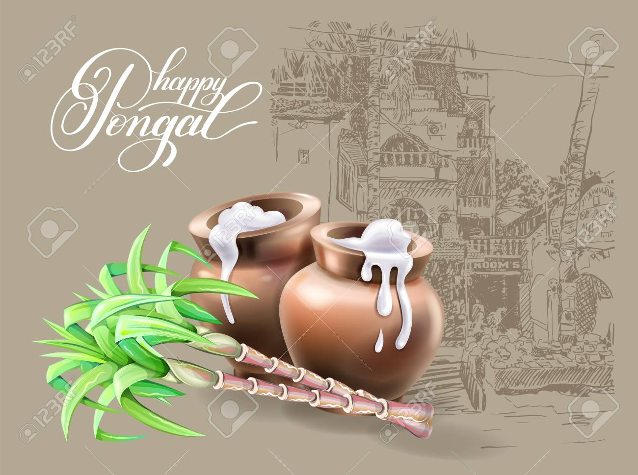 Happy pongal greeting card to south indian harvest festival design happy pongal greeting card to south indian harvest festival design vector illustration stock vector m4hsunfo