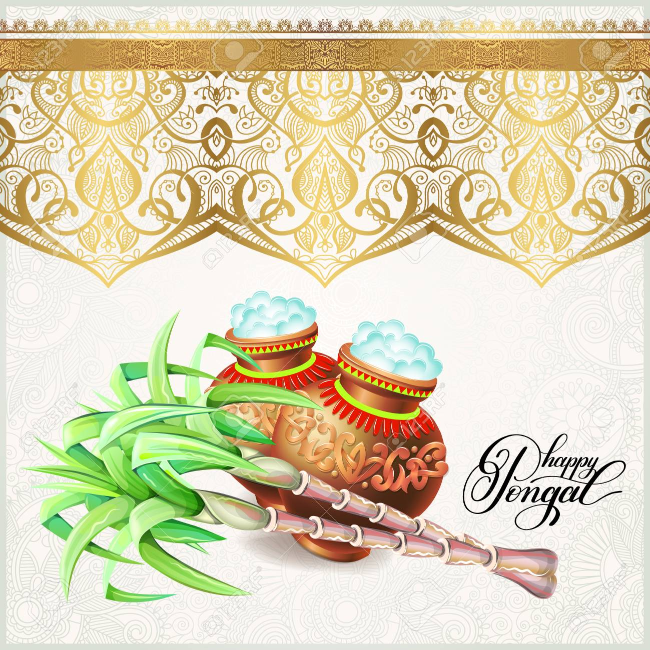 Happy pongal greeting card to south indian harvest festival happy pongal greeting card to south indian harvest festival vector illustration stock vector 93557094 m4hsunfo