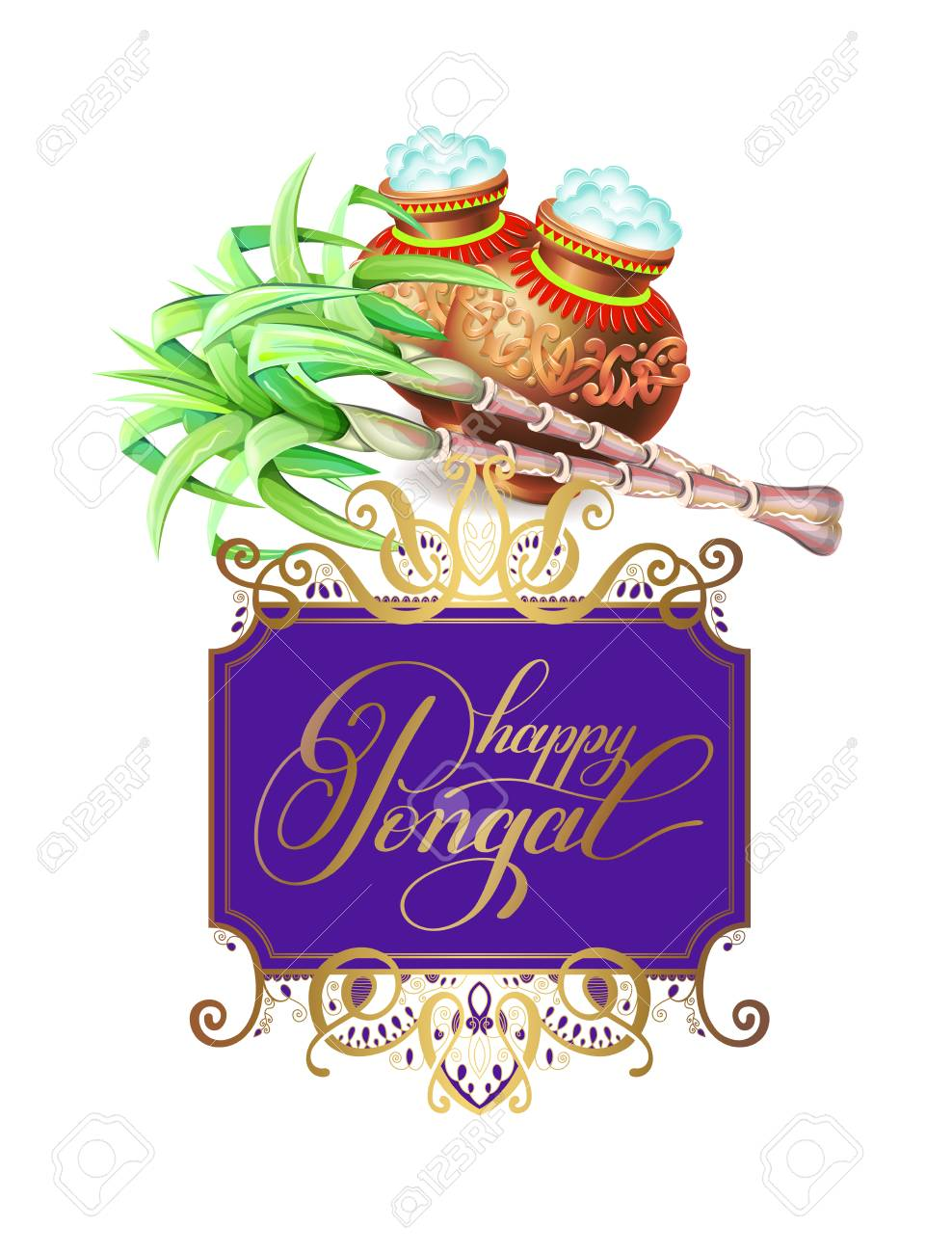Happy Pongal Greeting Card To South Indian Harvest Festival Royalty