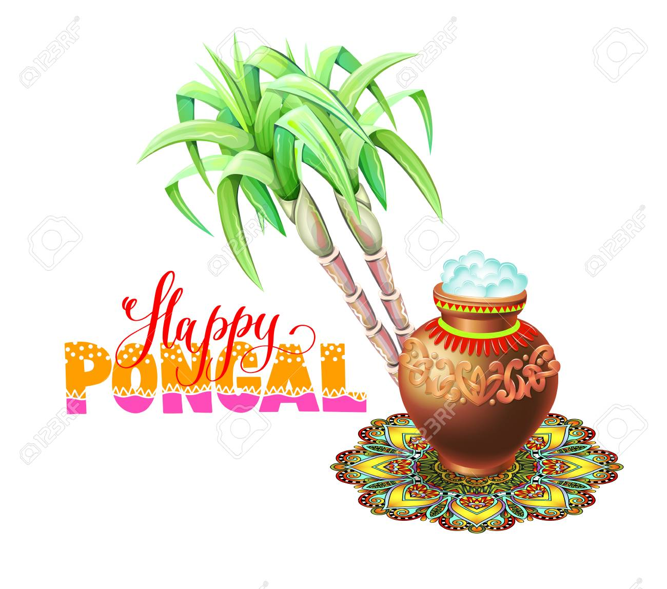 Happy pongal greeting card to south indian winter holiday design happy pongal greeting card to south indian winter holiday design stock vector 95047537 m4hsunfo