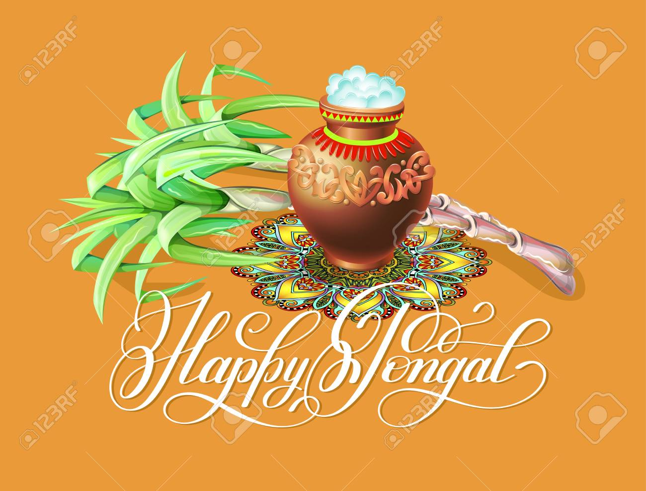 Happy pongal greeting card to south indian winter holiday design happy pongal greeting card to south indian winter holiday design stock vector 95047542 m4hsunfo